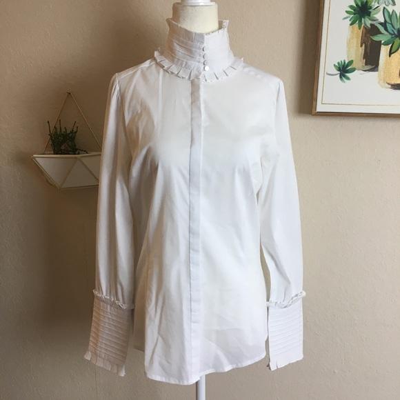 87ba0d3a1a0 Zara Ruffle Collar and Cuff Button Front Shirt. M_5a67709e8af1c5a70ca0a45f